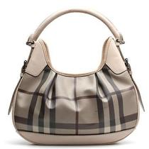 Burberry Blush Leather & Beige House Check Coated Canvas Hobo Bag Photo