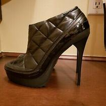 Burberry Booties Quilted Black Leather Shoes Pumps Sz 38.5 us8.5 Photo
