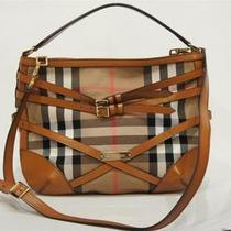 Burberry Bridle House Check Belted Dutton Hobo Shoulder Bag Light Tan 1195 Photo