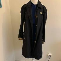 Burberry Brit Authentic Beautiful Blue Long Trench Coat Women's Size 8 Photo