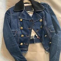 Burberry Brit Blue Denim Jacket Gold Buttons Zip Up Slim Fit 2 Styles Xs Photo