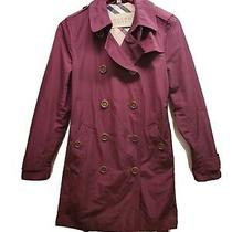 Burberry Brit Burgundy Trench Coat- Size Us 10 Photo