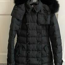 Burberry Brit Ladies Down Puffa Coat With Fox Fur Size Xs Photo