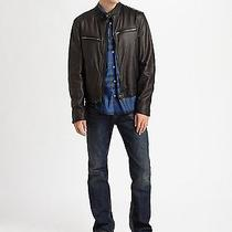 Burberry Brit Leather Motorcycle Jacket 1195 Bnwt Photo