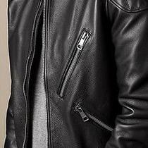 Burberry Brit Men Black Leather Bike Jacket - L Photo