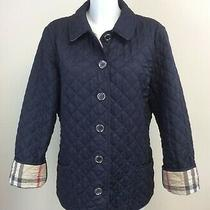 Burberry Brit Navy Blue Quilted Jacket Nova Check Size Xl L Ha Photo