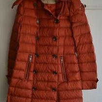 Burberry Brit Women's Orange Down Double Breasted Coat Size Medium (M) Photo