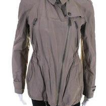 Burberry Brit  Womens Zip Up Drawstring Waist Coat Tan Size 4 Photo