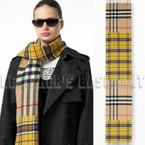Burberry Canary Yellow Contrast Check Cashmere Blend Fringe Scarf Nwt Auth 520 Photo