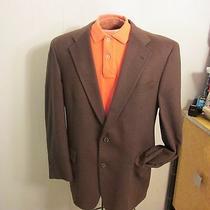 Burberry Cashmere Sport Coat Blazer 41 R Jacket Men's Brown Lined 2 Button Photo