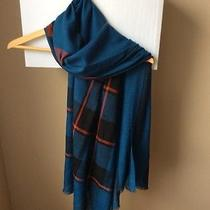 Burberry Check Pattern Blue Wool/silk Scarf Nwt Photo
