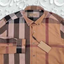 Burberry Checked Beige Casual Shirt Pocket on Chest Genuine Size L Photo