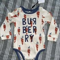 Burberry Children Baby One Piece Long Sleeve Carrot Bodysuit Tan Blue 12 Months Photo