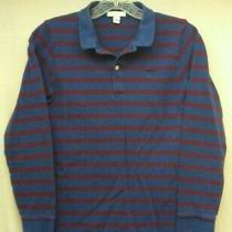 Burberry Children Boys' Dark Blue Purple Striped Long-Sleeve Polo Shirt Sz 14y Photo