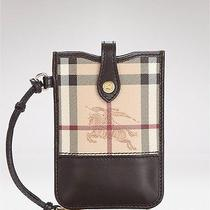 Burberry Chocolate Haymarket Phone Iphone Case Wallet Wristlet Brown Photo