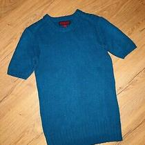 Burberry Chunky Knit Turquoise Short Sleeve Wool & Cashmere Jumper Top Uk8-10 S Photo