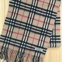 Burberry Classic Scarf 100% Cashmere Camel Check Pattern Photo