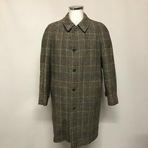 Burberry Coat Men's Size 38 Regular Brown Saddle Tweed Check Overcoat 410329 Photo