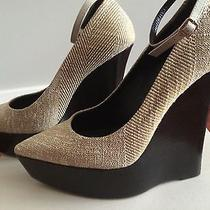 Burberry Designer Shoes Tweed  Wedge Ankle- Wrap Pump  Sz. 38 / 8   Photo