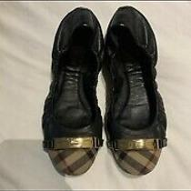 Burberry Drayton Check Black Leather Ballet Flats 7 Photo