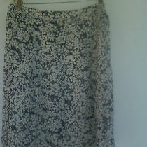 Burberry Flip Skirt  With Tie in Navy Blue and White Silk Photo