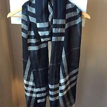 Burberry Giant Check Wool/silk Gauze Black Scarf Nwt Photo