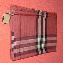 Burberry Giant-Check Wool/silk Scarf Blush Pink Made in Italy Nwt Org 395.00  Photo
