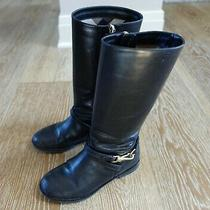Burberry Girls Black Leather Boots Size Euro 32/us 1 Guc Italy Photo