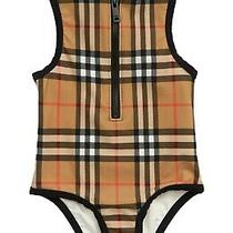 Burberry Girls Siera Beige Check One Piece Girls Swimsuit Bathing Suit 10 Photo