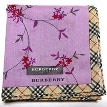 Burberry Handkerchief Scarf Bandana Purple Flower Cotton Auth New Collectible Photo