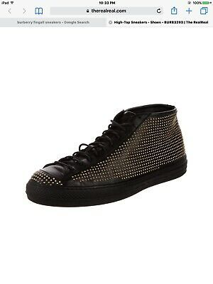 BURBERRY High Top Black Fingall Studded Leather Sneakers – Size 40 Photo