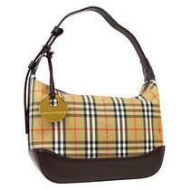 Burberry House Check Hand Bag Ku035af54 Purse Beige Brown Canvas Leather 40324 Photo