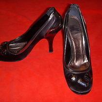 Burberry Jeweled Black Satin & Gunmetal Leather Shoes Pumps Heels Photo