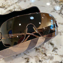 Burberry Light Gold Brown Gradient Women's Shield Sunglasses Used W/ Case Euc Photo