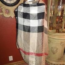 Burberry London 220cm X 90 Cm Giant Check Wool/ Silk Gauze Scarf Wrap Camel  Photo
