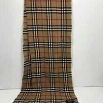 Burberry London Authentic Nova Check Plaid Lambswool Scarf Fringe 72