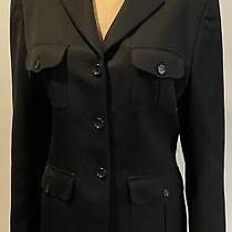 Burberry London Black 3 Button Blazer/jacket Sz 12 Photo