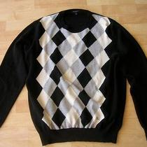 Burberry London Black Argyle Wool Crew Neck Sweater Size Xl Made in Italy  Photo