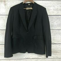 Burberry London Black Long Sleeve Wool One Button Blazer Jacket Plus Size 16 (J2 Photo