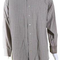 Burberry London Blue Label Mens Plaid Button Collar Dress Shirt Beige Size Large Photo