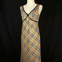 Burberry London Blue Label Vintage Nova Check v-Neck Dress Size 38 M Photo