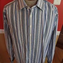 Burberry London Blue White Striped French Cuff  Extra Large L Xl 17.5 44 -1/2 Photo