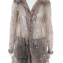 Burberry London Blush Long Sleeve Crew Neck Transparent Hooded Raincoat Sz 4 Photo