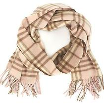 Burberry London Blush Pink Beige Wool Plaid Scarf Photo