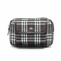 Burberry London Body Bag Waist Bag Plaid Nylon Leather Black White Red Photo