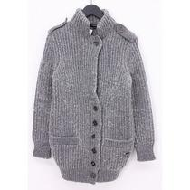 Burberry London  Cable Knit Woolen Military Coat Photo