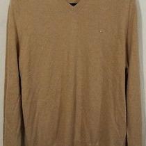 Burberry London Cashmere v-Neck Mens Sweater Size Xl Tan Photo