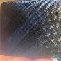 Burberry London Check and Leather International Bifold Wallet Blue Photo