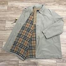 Burberry London Coat Jacket Nova Chek Cotton Wool Overcoat Men Beige Sz 5 Xl Xxl Photo
