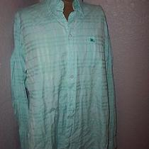 Burberry London Dress Shirt Size Xl Long Sleeve Aqua Plaid Button Down Shirt Photo